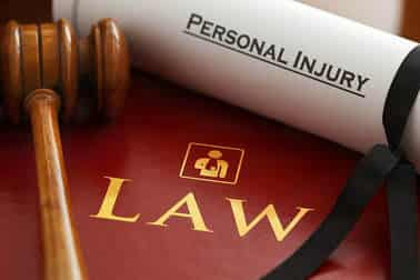 personal injury law with gavel